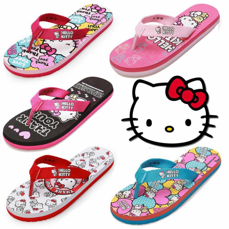 8079b5400 ... Hello Kitty Teenage Girls Flip Flops Beach Women Shoes Leisure Lovely  Home Slippers Middle School Students