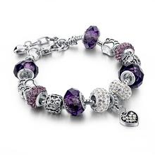 Murano pandora day bangles charm bracelets beads plated silver crystal &