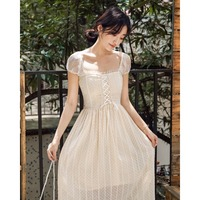 2019 new fashion women's dresses Apricot lace short sleeved dress French retro