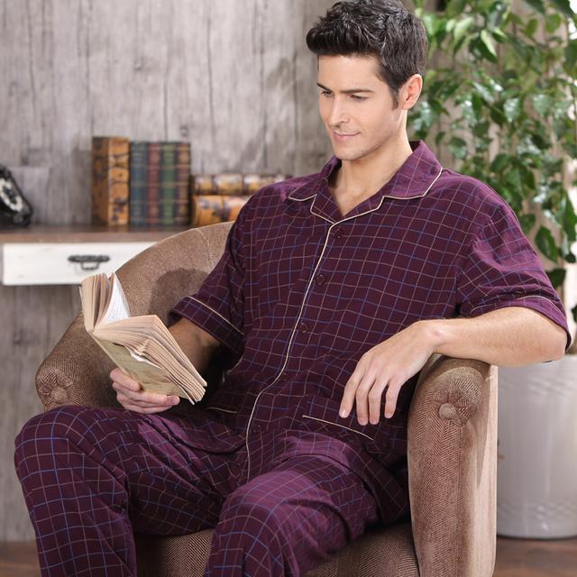 Pijamas Para Hombres ropa de Dormir de Algodón de Verano de Manga Corta Pantalones de Pijama Conjunto de Salón Pijamas Cardigan Delgado Más Tamaño 4XL
