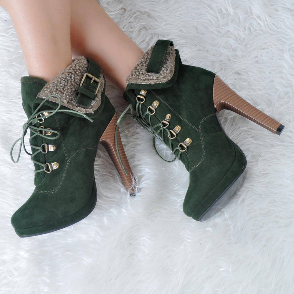ФОТО Women Shoes Winter Fashion Pumps Round Toe High Heels Pumps EU34-43 Large Size Shoes Women