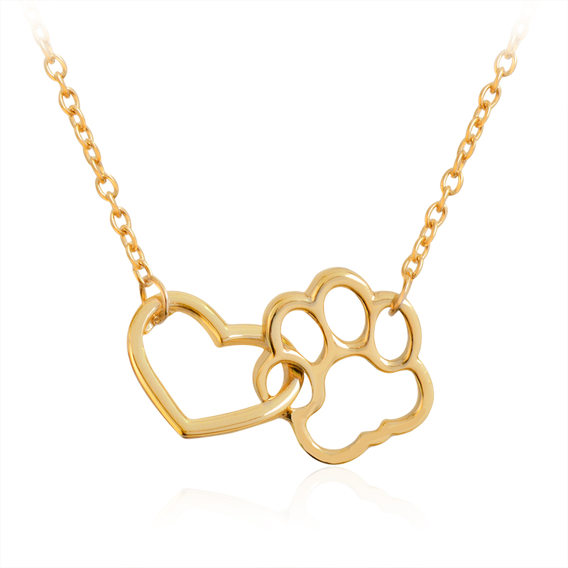 Hollow heart Dog cat Paw Prints Necklaces Cute Animal pet Memorial jewelry Pet Lover Puppy Paw Charm Necklace for women Girls