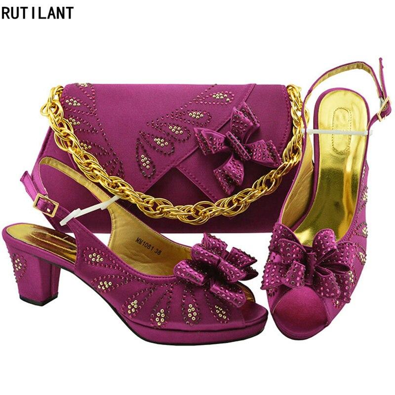 Luxe fuchsia Femmes pink En or À Chaussures Africain La Ensemble De Sac royal Green Fête Dans Dark purple Blue Sacs Italien Italiennes Talons Pour Hauts magenta Et Assorties Bw1BYqAU