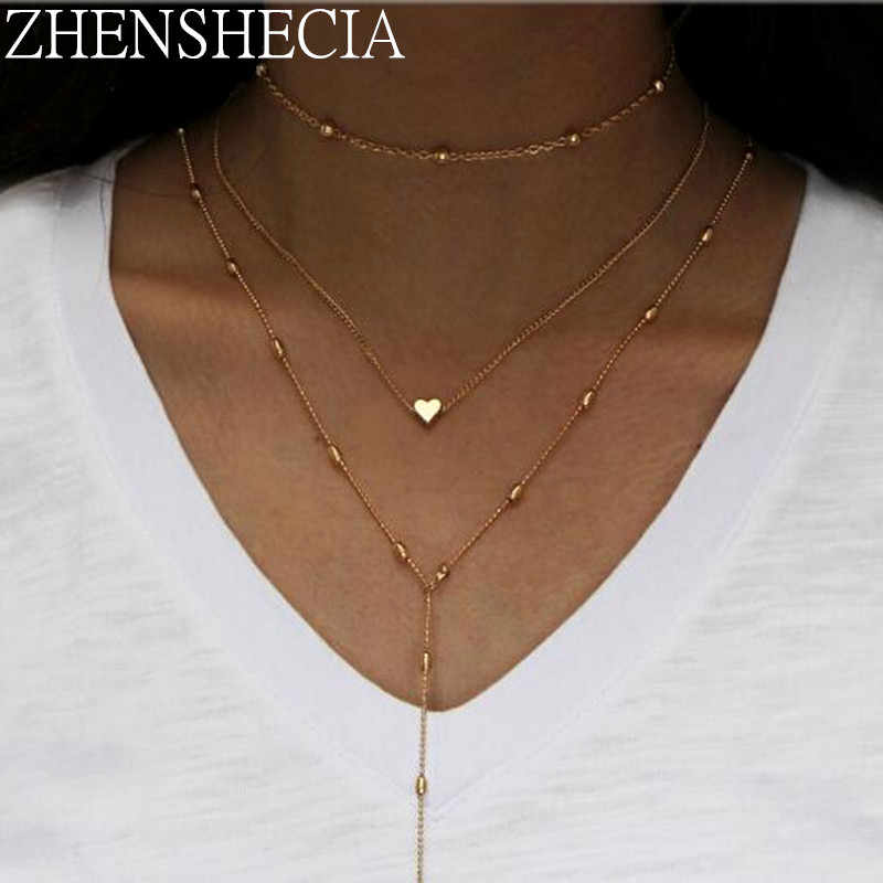 2018 Summer style Chain Necklace For women simple design vintage 3 layered heart pendant necklace long bijoux femme x20