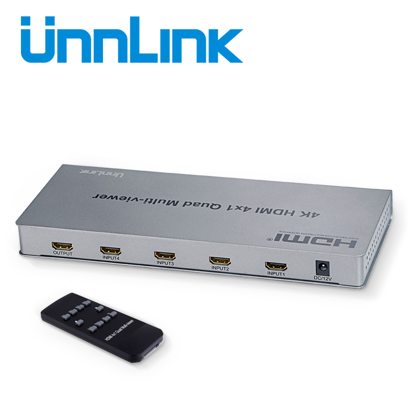 Unnlink 4X1 HDMI Multi-viewer UHD 4K@30Hz HDMI Quad Screen Real Time Switch HDMI Seamless Switch with IR Remote for 4 Hosts