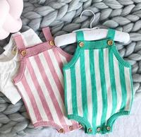 0 3 Years Wholesale 2018 New Baby Girls Knitting Striped Rompers Autumn Spring Toddler Jumpsuit Pick