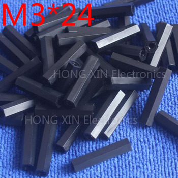 M3*24 black 1 pcs Nylon 24mm Hex Female-Female Standoff Spacer Threaded Hexagonal Spacer Plastic Standoff Spacer high-quality image