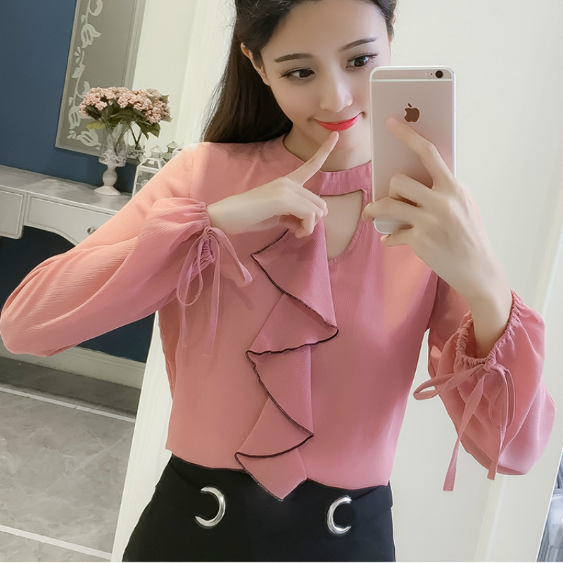 Women's Clothing Women White Chiffon Blouse 2019 Female Clothing Long Sleeve Blusas Ruffles Office Blouses Lady Ol Top