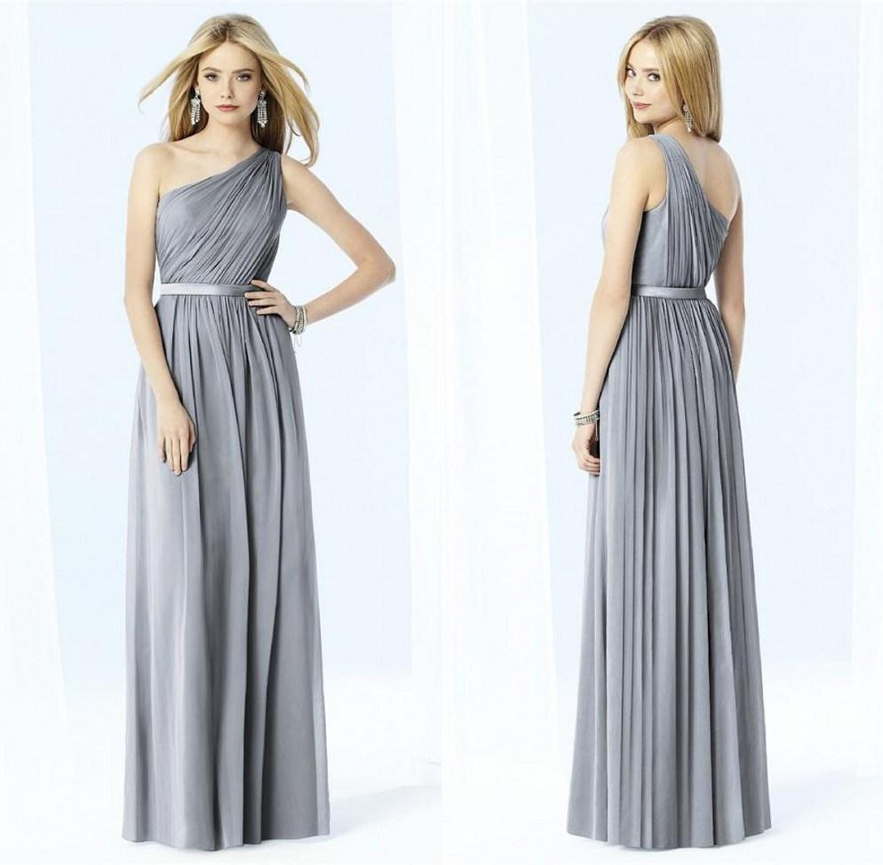 Cheap 2014 silver grey bridesmaid dresses one shoulder chiffon cheap 2014 silver grey bridesmaid dresses one shoulder chiffon dress ruffles pleas floor length online party dress long maid of in bridesmaid dresses from ombrellifo Image collections