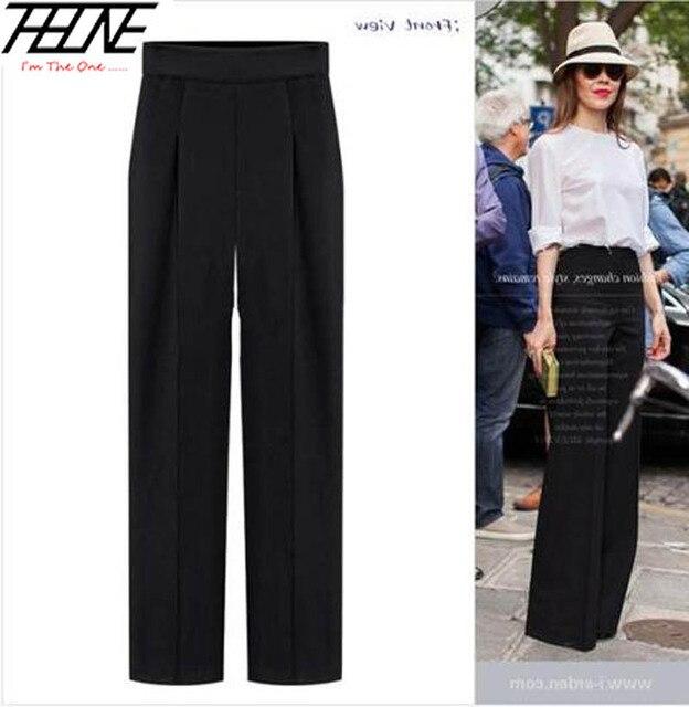 2017 Summer Autumn Fashion Wide Leg Pants Women Ol Business Casual High Waist Zipper Chiffon Black