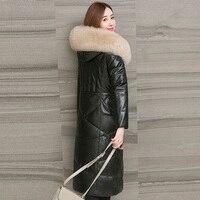 Genuine Leather Jacket Winter Jacket Women Fox Fur Collar Sheepskin Coat Korean Pink Jackets for Women Warm Down Jacket MY1911