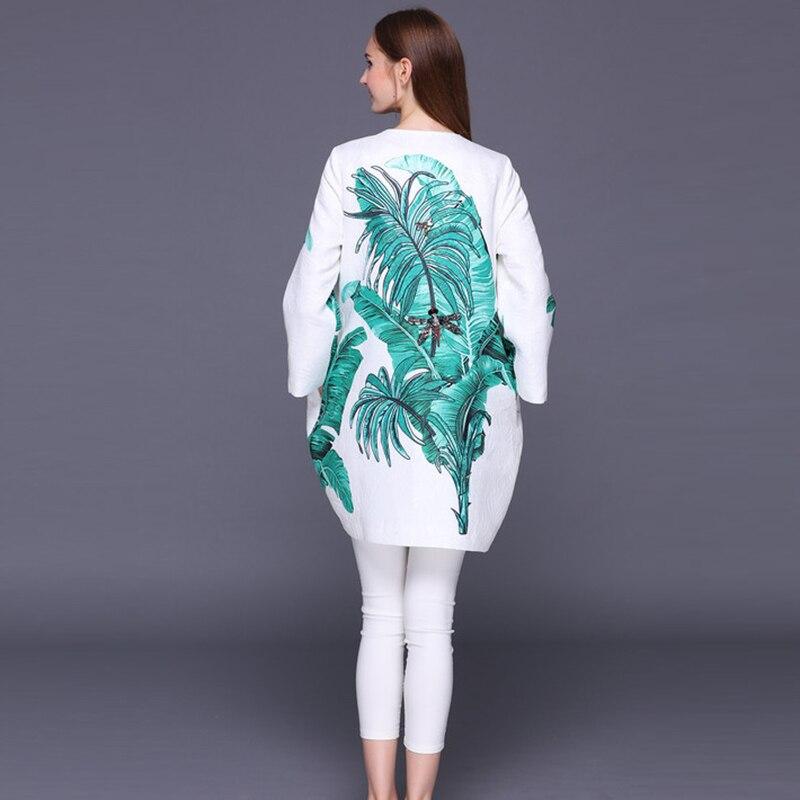Feuilles Date Cristal Femmes Jacquard Qualité Imprimer Automne Manteau Banane Tranchée Piste Hiver Haute Designer 2017 De Perles 1qP5x6xwp