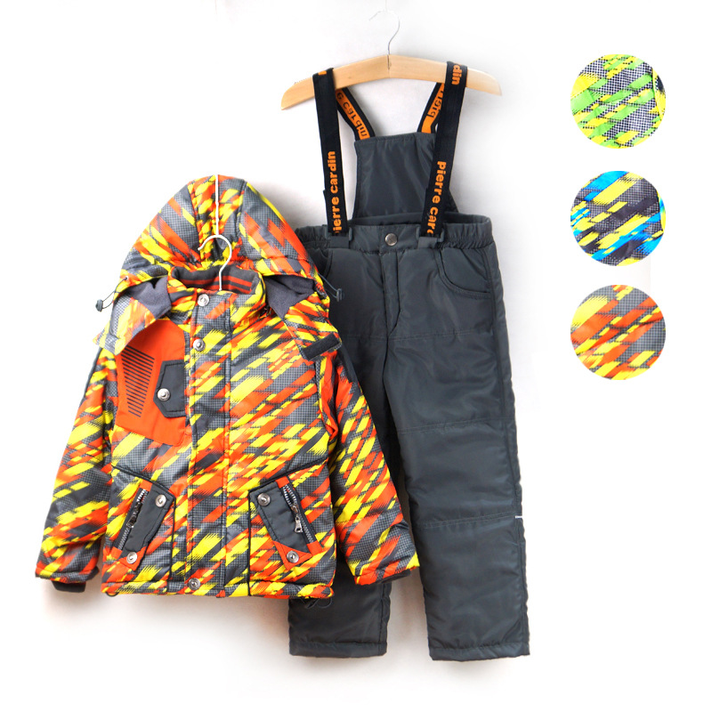 -10 degree Autumn Winter Children Clothing Sets Windproof Outdoor Baby Boys Sports Jackets+Bib Pants 2pcs Set for 1-6 years