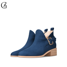 Купить с кэшбэком GOXEOU 2019 Women Chelsea Boots Ankle Casual Shoes Round Toe Square Heel Boots Fashion Slip-On Short Mujer Flock Women's Boots