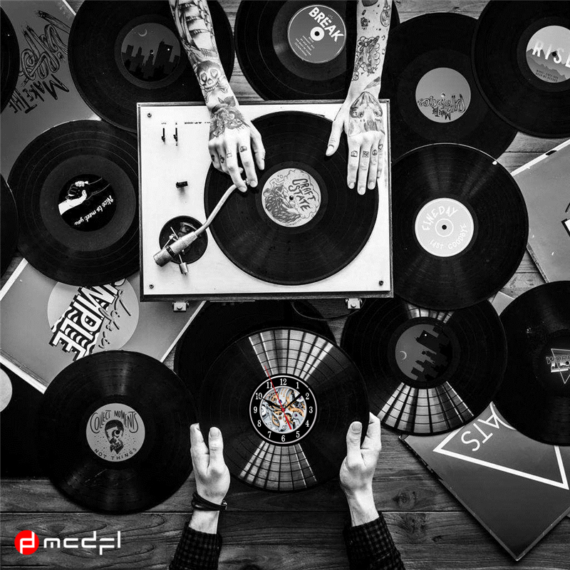 Home Living Vinyl LP Rekord CD Wanduhr 3D Moderne Design Hängen Uhren für Home Dekoration