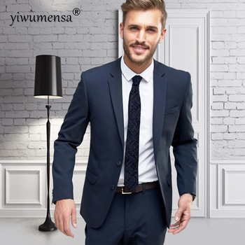 yiwumensa costume homme 2018 men suit terno masculino Black/Navy Blue wedding suits for men smoking mariage slim fit mens suits