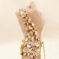 Gold Silver Bridal Bracelet Wedding Dress Accessories Bridal Ring Chains Bracelets Crystal Jewelry Bridal Bracelets Bangles