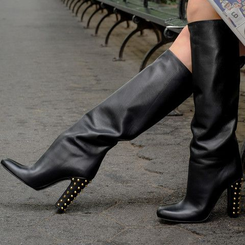 Winter newest high heel boots black leather riding boots gold rivets studded thick heels woman boots fashion knee high boots
