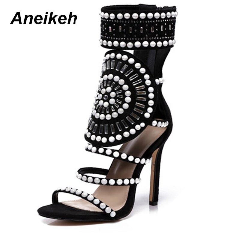 6187d4e5b236 Aneikeh Sandals Women Fashion Open Toe Rhinestone Design High Heel Sandals  Crystal Ankle Wrap Glitter Diamond Gladiator Sandals