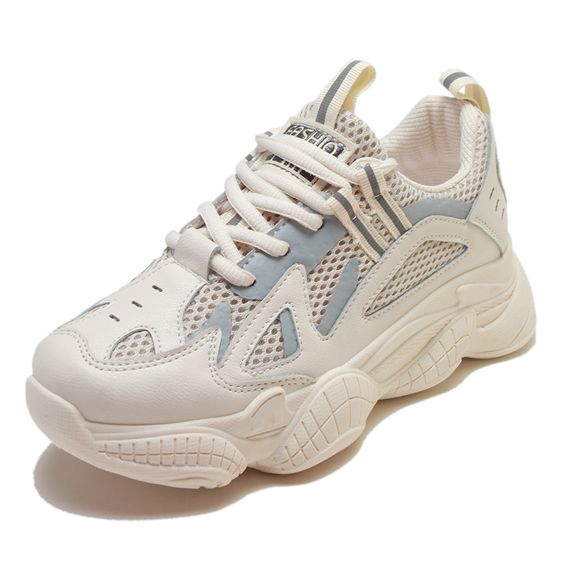 Sneakers Woman Platform Walking-Shoes Lace-Up Mesh Running-Flats Female Autumn Breathable