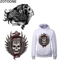 ZOTOONE Stripes for Clothes Punk Skull Iron on Transfer Patches Applique Clothes Printed Diy Patch Application Thermo Stickers C fe c on different corrosion agent for petroleum refinery application