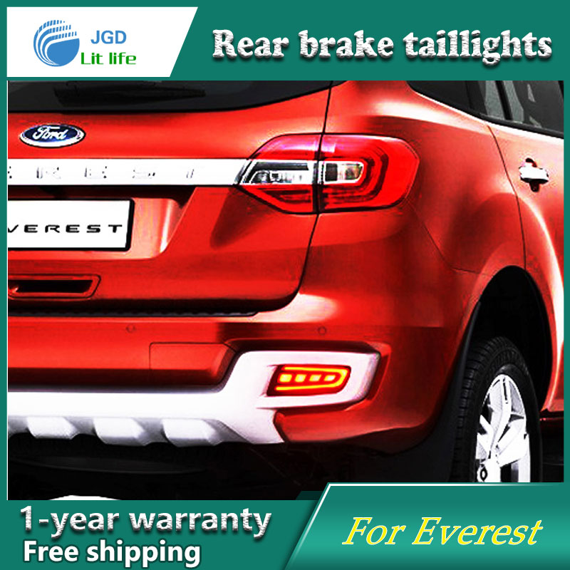 Car Styling Rear Bumper LED Brake Lights Warning Lights case For Ford Everest 2016 2017 Tail Brake Stop DRL Fog Light car front bumper mesh grille around trim racing grills 2013 2016 for ford ecosport quality stainless steel