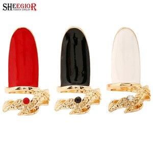 Корейские золотые длинные кольца SHEEGIOR для женщин и мужчин, аксессуары для влюбленных, красные, белые, черные Стразы для ногтей, кольца в форм...