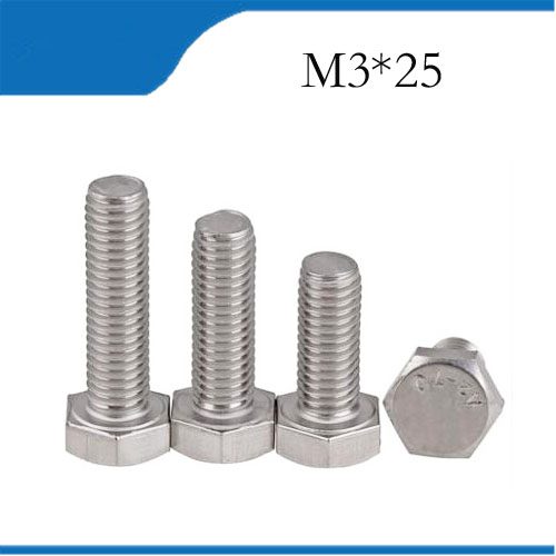 25pcs M3 25mm M3*25mm 304 Stainless Steel SS DIN933 Full Thread HEX Hexagon Head Screw m3 screws 25 3