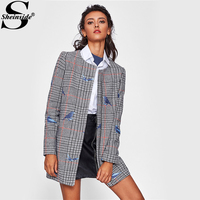 Sheinside Bird Embroidered Hidden Zip Plaid Coat Women Collarless Long Sleeve Casual Outer With Lining 2017 Fall Elegant Coat