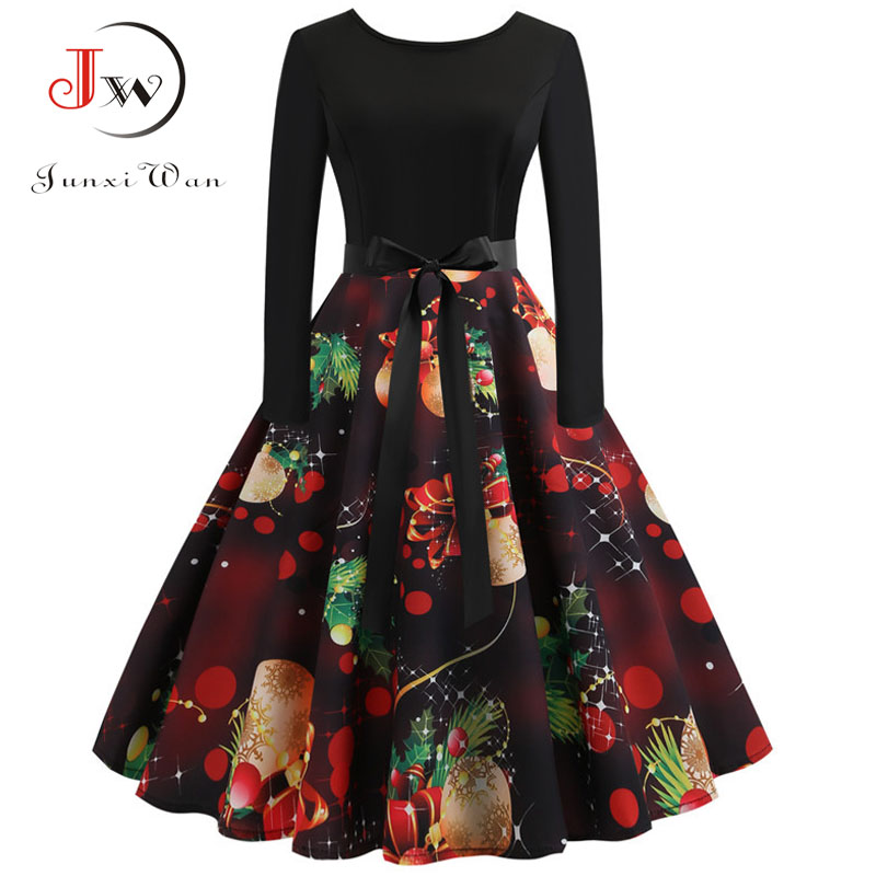 Winter Women Christmas Dress Long Sleeve Print Vintage Party Dress Elegant Black Patchwork Bodycon Dresses Vestidos Plus Size 28
