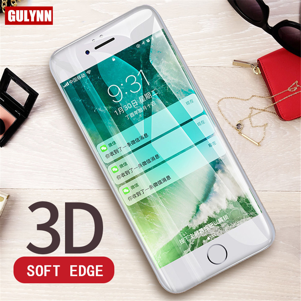 Full Coverage Tempered Glass For IPhone 8 7 6S 6 Plus Full Screen Protector 3D Curved Soft Edge Film For IPhone X 10 Protector