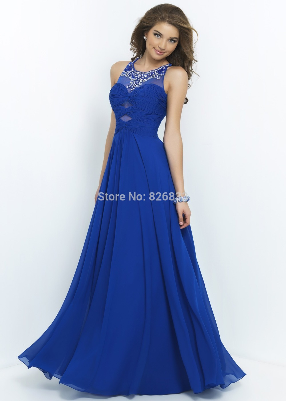 Lilac Royal Blue Long Fitted Corset Prom Dress With Beaded Halter ...