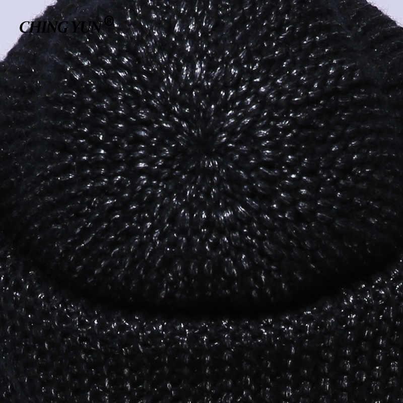 CHING YUN 2018 kış örme Skullies sıcak şapkalar kadın kaşmir örgü bere şapka kadın yün kabarık astar gümüş kaplama ipliği