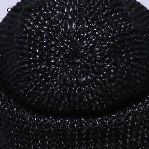 Image 5 - CHING YUN chapeau de tête de cheval tricoté pour femmes, chapeau chaud en laine, bonnet tricoté en cachemire, doublure duveteuse, fil plaqué argent, hiver, 2018