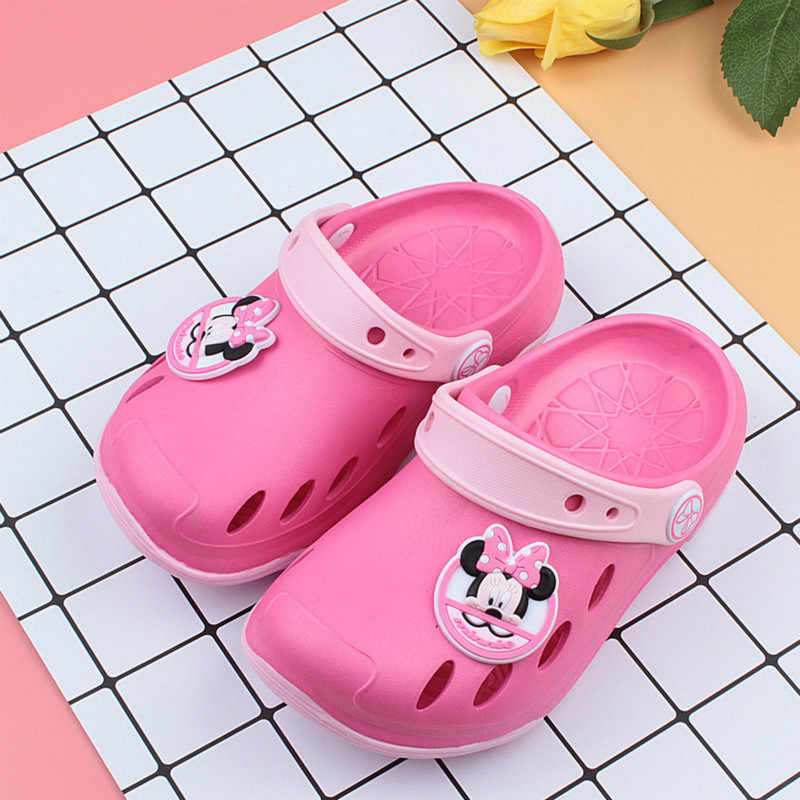 Disney Kids Shoes Cute Fashion Cartoon Breathable Comfort Hole Slippers Non-slip Wear-resistant Children's Sandals#37