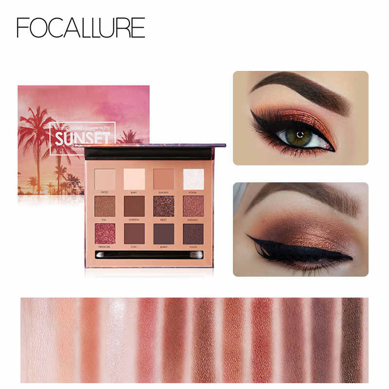 FOCALLURE 12 Colors Eyeshadow Palette Glitter Matte Shimmer Powder ชุดสำหรับงานเลี้ยง Super Pigment แต่งหน้า Eye Shadow