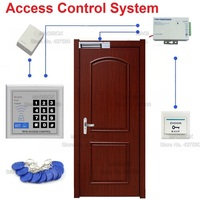 125KHz RFID Proximity Card Door Access Control System Set 180kg Magnetic Lock Power Supply Wired Door