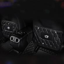 Auto In Pelle di diamante Sul Sedile Posteriore di Protezione Organizer Nero Sedile Posteriore del Sacchetto Della Tasca di Pastiglie Per Interni Auto Sedili Protezione Accessori
