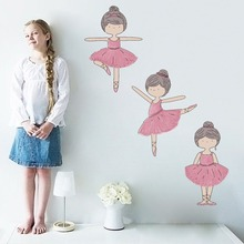 Pink Dancing Ballet Girl Decal For Kid Nursery Bedroom Vinyl Wall Sticker Cartoon Home Decor Removable Wallpaper Christmas Party