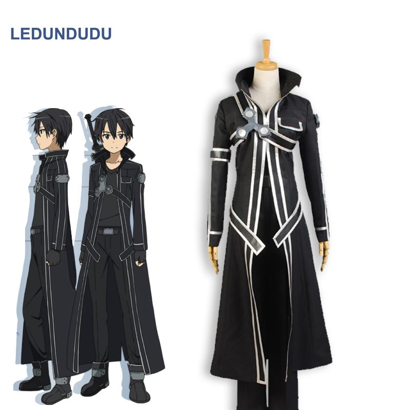 Anime Sword Art Online Kirito SAO Kirigaya Kazuto Cloaks Uniform full set Fancy Adult Halloween Party Cosplay Costumes
