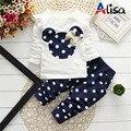 Vestuário 2016 Meninas Do Bebê DOT minnie Bow Bonito 2 PCS Conjunto De Pano crianças Pano Terno Top T shirt + Calças Voar manga Polca Dot