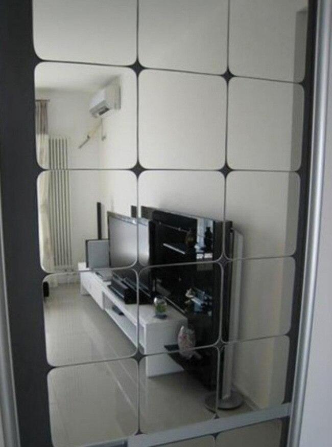 6 unids/set MASCOTA De Plástico Cuadrados Espejo de Pared de Acrílico Espejo Dec
