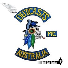 NEW ARRIVAL MC OUTCASTS AUSTRALIA EMBROIDERY PATCH JACKET RIDERS MOTORCYCLE CLUB