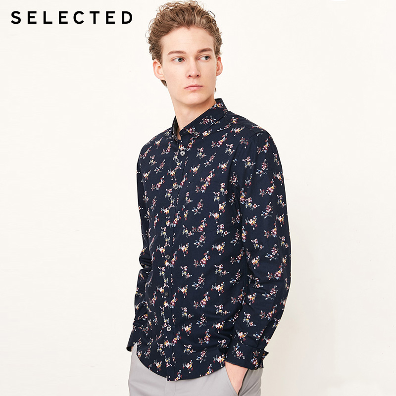 Selected Men's Spring & Summer Printed Long-Sleeved Shirt S|418305523