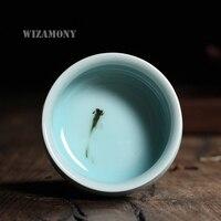WIZAMONY Çin Longquan Seladonlar Porselen Çin Çay Fincanı SaucerTea Kase Altın Balık 80 ml Çin demlik Seladonlar Çay Fincanı