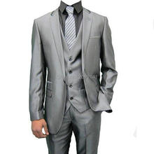 Fashion Bright Gray Men's Suit Wedding Suit For Men 3 Pieces Buttons Cuff Groon Two Buttons Tuexdos Custom Made Blazer Plus Size