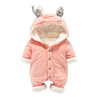 Newborn Thicken Warm Romper Boy Girl Christmas Deer Long Sleeve Overalls Baby Winter Fleece Jumpsuit One