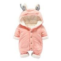 Newborn Thicken Warm Romper Boy Girl Christmas Deer Long Sleeve Overalls Baby Winter Fleece Jumpsuit One
