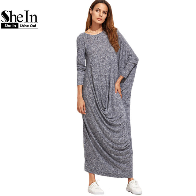 SheIn Winter Long Maxi Dress Brand Casual Dresses Navy Marled Knit Draped Asymmetric Long Sleeve Oversized Dress