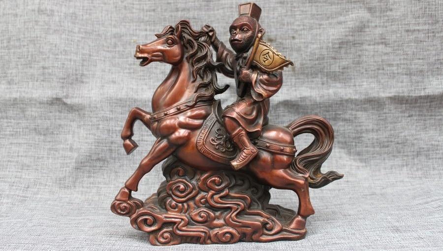 Singe en cuivre pur Bronze de chine tenant la Statue de cheval de tour de joint